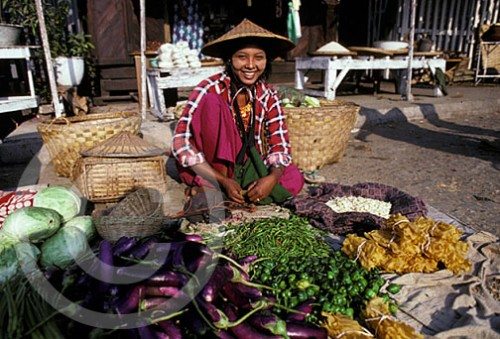 Photo of a vendor in Mandalay, Burma