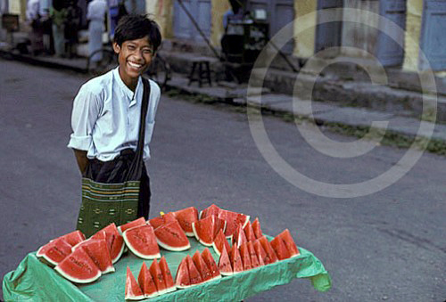 Photo of a watermelon vendor in Rangoon, Burma