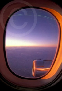Photo of an airplane window