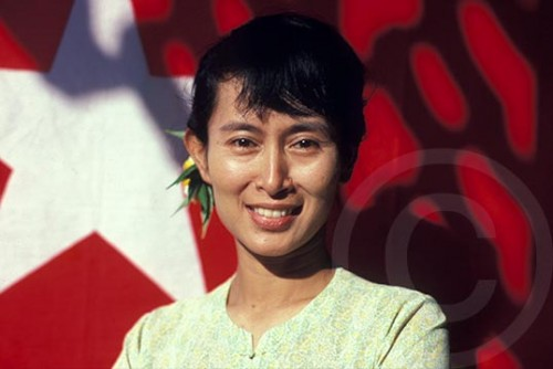 Portrait of Aung San Suu Kyi at her house in Rangoon, Burma, 1989