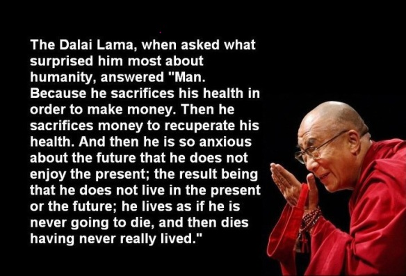 What suprises the Dalai Lama the most about humanity