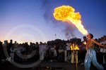 Photo of a fire eater in Marrekesh, Morocco
