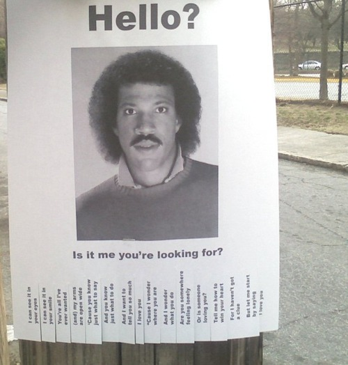 Photo of a funny Lionel Richie flyer
