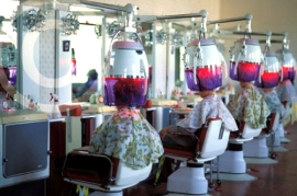 Photo of a North Korean beauty salon in Pyongyang