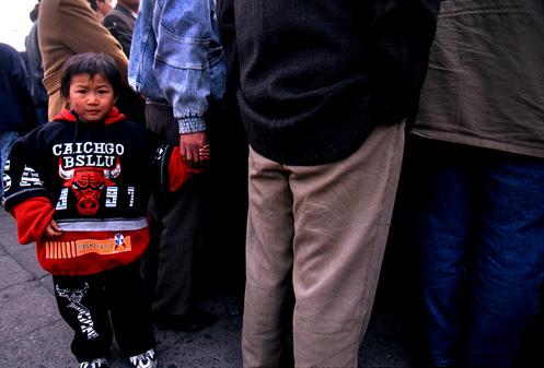 Photo of a knock-off Chicago Bulls sweatshirt in Beijing, China