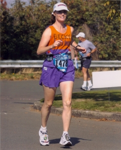 Photo of Becky Green Aaronson running the Portland Marathon