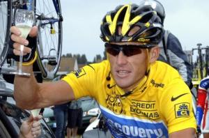 Photo of Lance Armstrong with bubbly