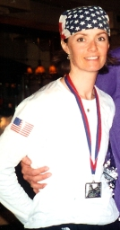 Becky Green Aaronson after the 2002 Paris Marathon