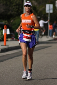 Becky Green Aaronson running the Santa Barbara Marathon
