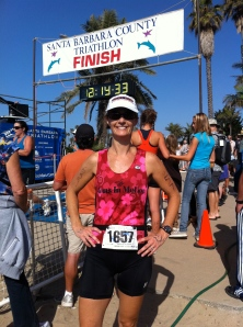 Becky Green Aaronson at the finish of the Santa Barbara Triathlon