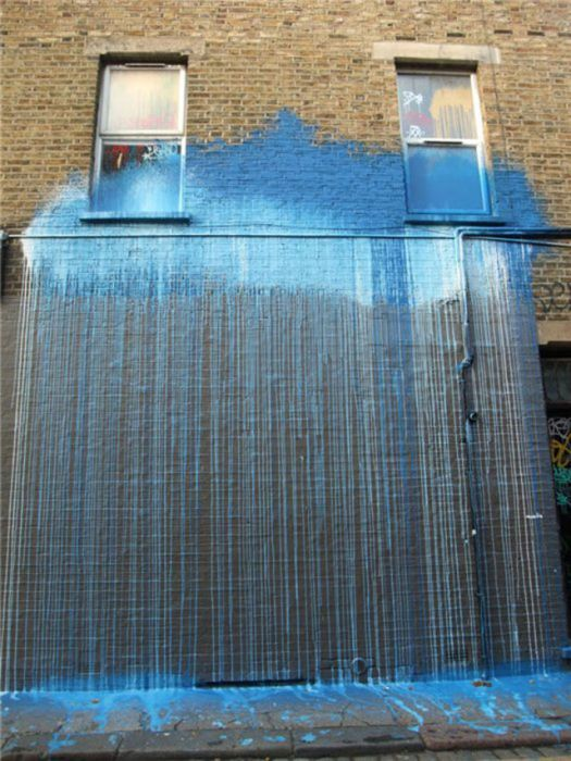 Photo of street art blue waterfall
