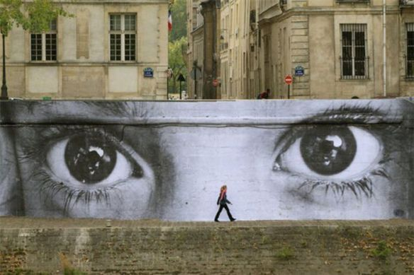 Photo of street art eyes wall