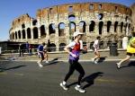 Becky Green Aaronson running the Rome Marathon