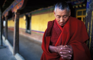 Tibetan Monk at the Jokhang Temple in Lhasa